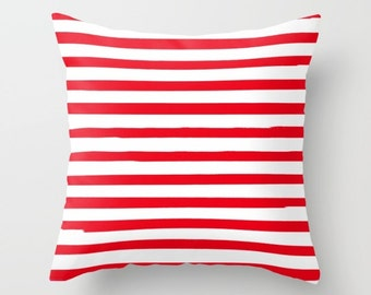 Kids Room Decor, Red Striped Pillow, 18x18 or 22X22 Pillow Cover, Canvas or Velvet Cushion Cover, Girls Bedroom, Boys Decor, Kids Pillows