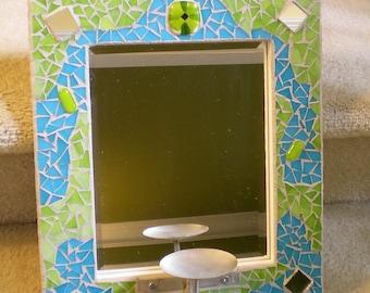 Blaue und grüne Glasmalerei Mosaik Spiegel mit Kerzenhalter