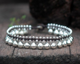 Silver Bell Anklet, Wedding Women Ankle Bracelet, Jingling Hippie Anklet