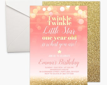 Pink and gold first birthday invitation girl 1st birthday pink twinkle twinkle little star pink and gold first birthday invitation one year old girl 1st birthday invite gold glitter printable coral bokeh filmwisefo