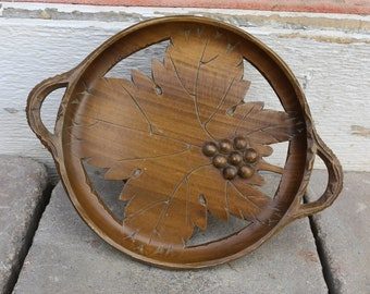 Vintage Hand Carved Musical Wooden Tray