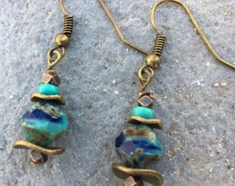 Boho Earrings, Hippie Earrings, Dangle Earrings, Turquoise Earrings, Earrings