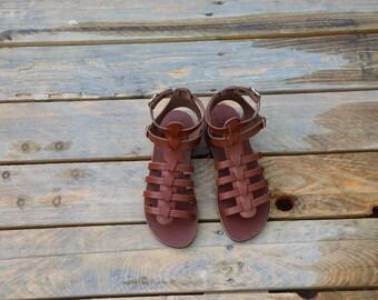 "Greek Leather Sandals ""iphigenia"" code #95"