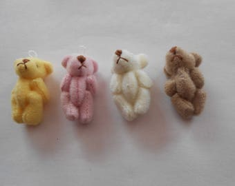 4 mini bears - for your cell phone, make keychains, or other decorations - set 1-9