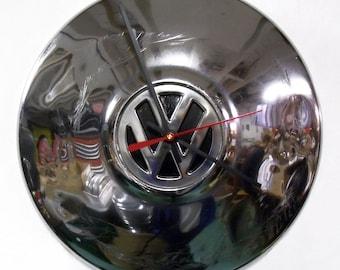 Retro VW Clock - Volkswagen Beetle Hubcap Clock - Volkswagon Bug - Chrome Wall Clock with Black Center