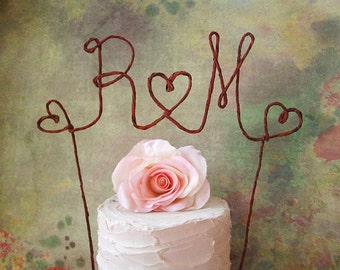 INITIALS Rustic Wedding Cake Topper, Rustic Wedding Cake Decoration, Monogram Wedding Cake Decoration, Bridal Shower Decoration, Centerpiece