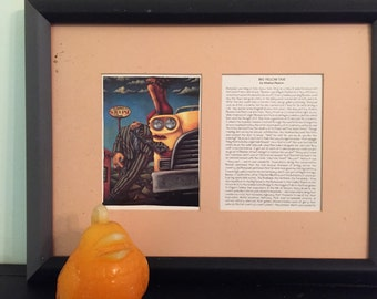 BIG YELLOW TAXI by Markus Pierson Print with Story Framed and Matted, 1990s Modern Art at Modern Logic