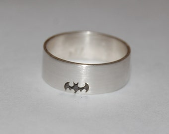 Getting Batty Batman Sterling Silver Hand carved Ring, Super Hero Ring