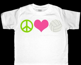 Peace, Love, Volleyball Shirt or Bodysuit - Perfect for the volleyball enthusiast