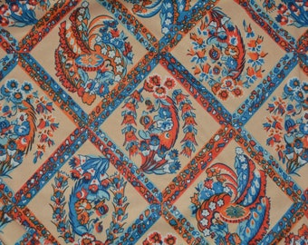 1970s fabric 70s fabric polyester knit novelty fabric wide width Asian fabric Japanese floral fabric Boho fabric hippie blue orange