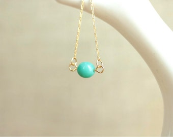 mint bead necklace on 14kt gold fill necklace aqua for spring fashion gift for mom