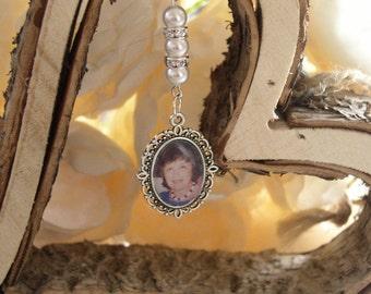 White Memorial Bridal Bouquet Charm Photo Frame/Locket Charm