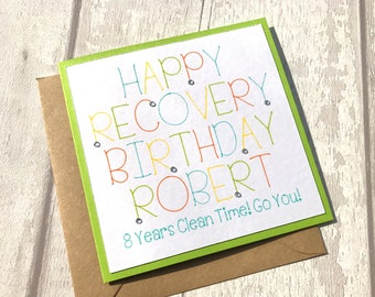 Recovery cards etsy personalised recovery birthday card sobriety sobriety birthday card na aa clean bookmarktalkfo Choice Image