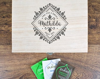 Time For a Break! Blooming Beautiful Personalised Wooden Tea Box - Pine - Tea Lover - Cuppa - Pukka Tea - Gift For Sister - Gift For Wife