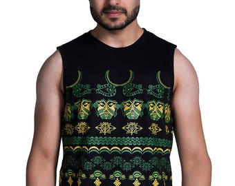 Tribal Odyssey Men's vest - Burning man clothing- African clothing - Doof Clothing - Rave Clothing - Psychedelic t-shirt - occult clothing