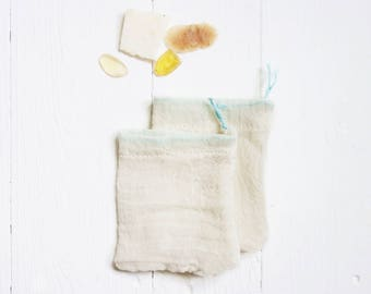 Soap Pouch, Set of 2 / Soap Saver, zero waste made from organic cotton