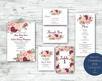 Marsali Wedding Invitation Suite (INSTANT PDF DOWNLOADS)