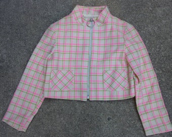 Vintage Mod Girls Jacket 60's School Girl Zip Up Plaid Wool Shirt Groovy Cropped Blazer with Zipper Made in USA Size 8 1960's