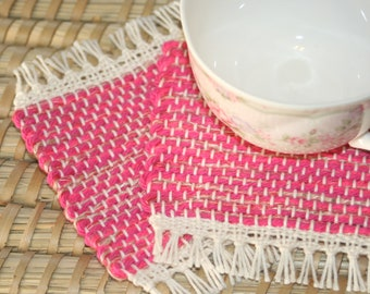 Bright Pink Handwoven Coasters - Set of 2 Eco Friendly Mug Rugs - Woven Coasters in Pink Fuchsia