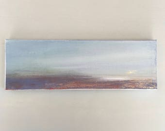 "Minimalist Beach Scene- Atmospheric Painting - 4 x 12 -  Original Painting  - Stretched Canvas- painted 3/4""edge ready to hang"
