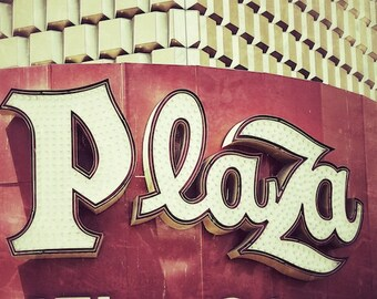 Plaza Sign, Old Neon Sign Art Photography, Office Wall Art, Red, Gold, Cream