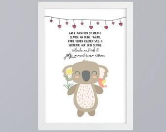Koala - reach for the stars art print gift family art print, fine art print