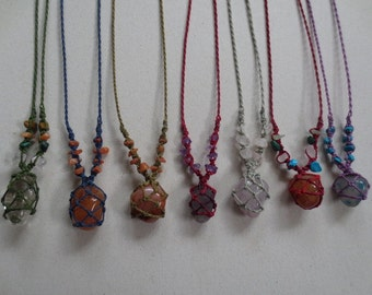 Peruvian semi-precious stone macrame pendants