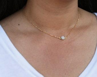 Druzy Necklace, Silver Druzy Necklace, Minimal Necklace, Layering Necklace, Short Necklace, Sparkly Necklace