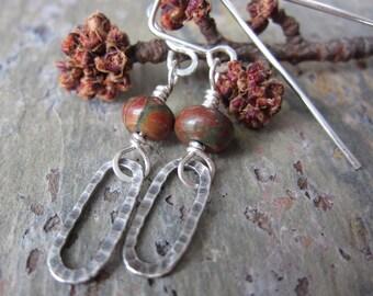 Red Creek Jasper Swing Earrings - jasper earrings w/ hammered silver