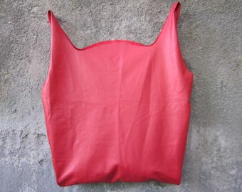 Red Soft Leather Shopper Hobo Bag, Slouchy Leather Tote Bag, Minimalistic Row Edge Leather Shopper