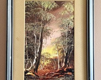 Original Landscape Painting. Small Vintage Landscape Painting. Original Framed Art ROP0255