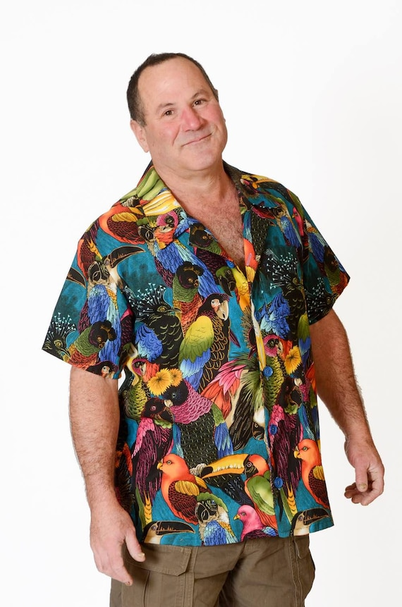 Feak Shirt for Men Exotic Birds Print, Hawaiian Shirt, Exotic Birds Shirt, Mens Hawaiian Shirt, Tropical Rainforest Shirt