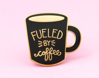Coffee Enamel Pin - cute enamel mug pin | hat badge | hygge pin