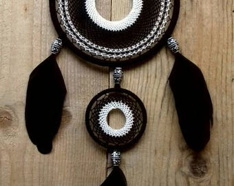 FREE SHIPPING Black and White Dream Catcher Wall Hanging Black and White Wall Decor Boho Hanging Native American Southwesten