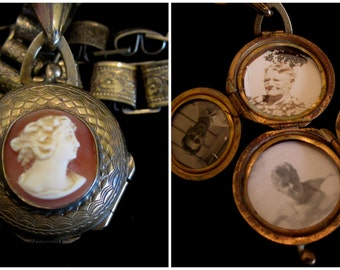 Antique Carved Cameo Locket Necklace