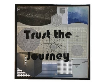 Original Collage Artwork Trust the Journey Vintage Vinyl Record Cover Art Framed Mixed Media Metallic Intergalactic Home Decor Wall Art