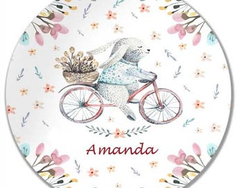 Personalized Melamine Plate 8 or 10 inch Bunny on Bicycle