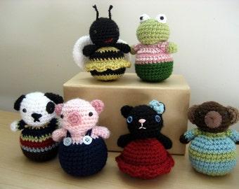 Amigurumi Crochet Roly-Poly Animal Pattern Set Digital Download