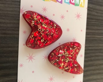 New Funky Boomerang Earrings Red Retro Pinup