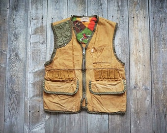 Vintage Saf-T-Bak Hunting Vest - Rugged Duck Cotton Canvas Outdoor Outer Under Wear - Made in USA -