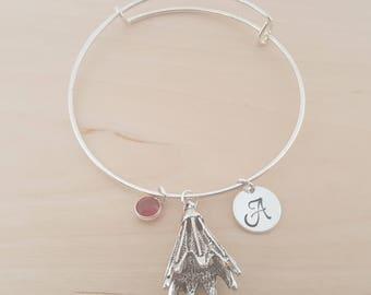 Birdie Bangle - Badminton Bangle - Silver Adjustable Bangle - Personalized Bracelet Swarovski Crystal Birthstone Jewelry-Gift