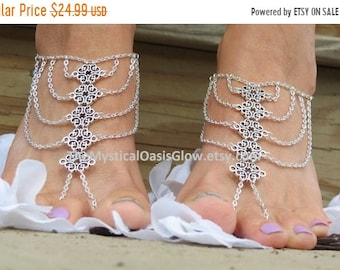 Sale Gypsy foot jewelry barefoot sandal anklet with chain toe ring attached geometric slave anklet SILVER barefoot sandals body jewelry for