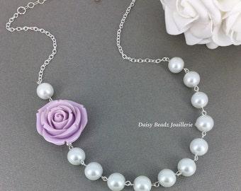 Lilac Flower Necklace Purple Flower Necklace Pearl Necklace Bridesmaids Necklace Rose Necklace Statement Necklace