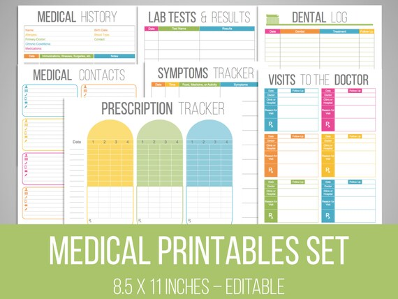Medical Printables Set Organizing Printables Editable