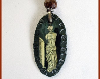 Handmade pendant Venus, contemporary jewelry grey necklace, Valentine gift, hippie boho pendant for her, miniature painted in pendants.