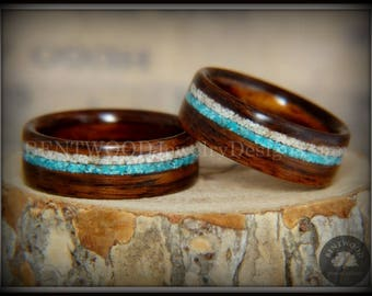 "Bentwood Rings - ""Paired"" Rosewood Wood Rings with Sleeping Beauty Turquoise and Beach Sand Inlay"