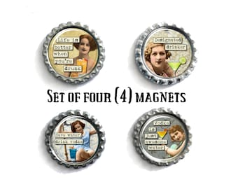 Refrigerator Magnets, Gifts Under 10, Funny Magnets, Vintage Magnets, Funny Gifts, Magnet Set of 4, Fridge Magnets, Housewarming Gifts