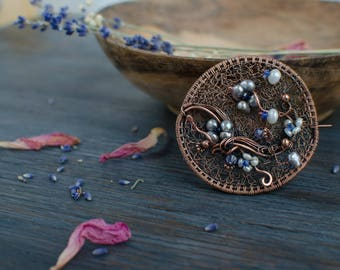 Pearl flower round brooch Seecret garden collection by IrenAdler, copper brooch with flowering branch, one of a kind gift to Christmas