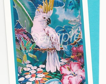 Cockatoo Hibiscus Tropical Note Card and Envelope