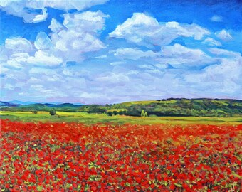 Original Oil Painting, Oil Painting Landscape, Home Decor, Nature, Poppies, Flowers, Red